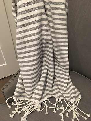 White Flatweave Throw - Grey Stripes