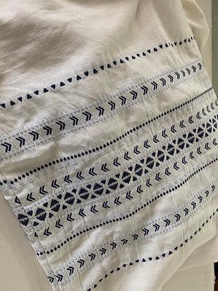 STANDARD White & Blue Stitched Shams