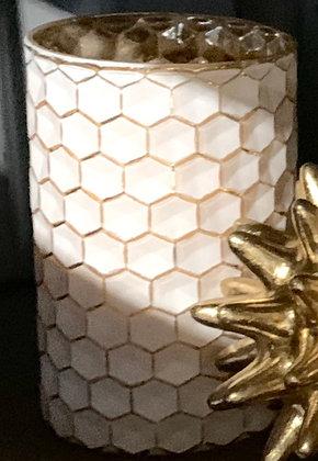 """Gold & White """"Honeycomb"""" Hurricane"""