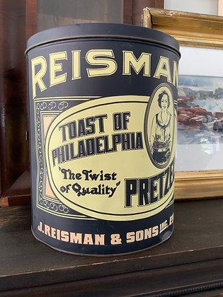 """Vintage """"Reisman Philadelphia Pretzels"""" Tin"""