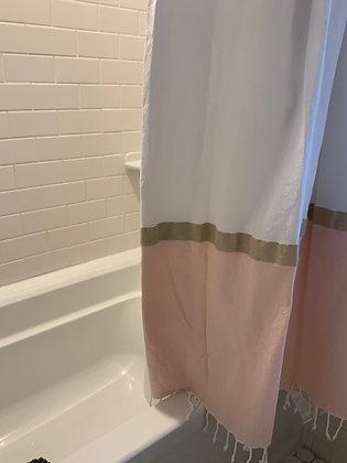 Shower Curtain - White w/ Pink & Gold Trim