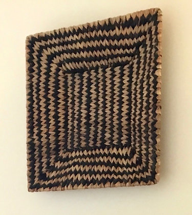 Square Woven Natural & Black Jute Basket