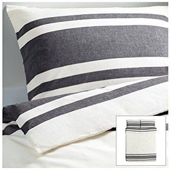 F/QU White w/ Grey Stripe Duvet Cover Set