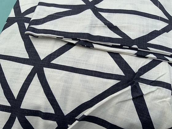 KING White Linen w/ Navy Lines Duvet Set