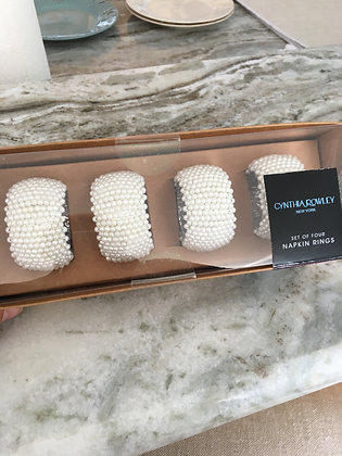 Napkin Rings - Pearl Beaded - Set of 4