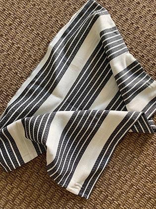 LUMBAR White w/ Black Textured Stripes