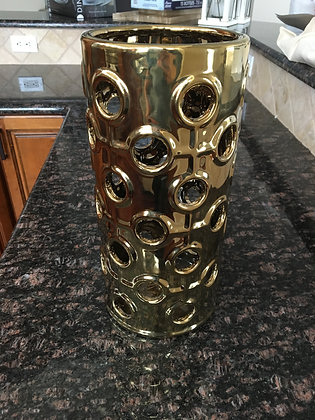 Gold Hurricane Jar w/ Circle Cutouts