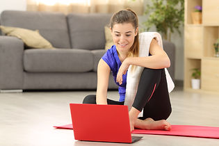 Fitness woman selecting tutorial before