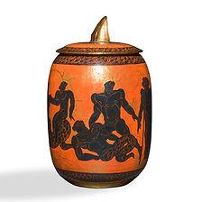jean mayodon scène mythologique 1945 pot couvert en céramique