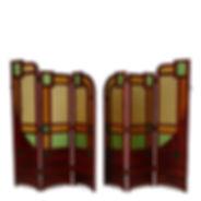 École d'Amsterdam paire de paravents acajou verre cathédrale aventurine de stijl hollan mahogany amsterdam school rietvels la hague école de la haye michel de klerk