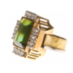 jean despres bague or jaune platine tourmaline et diamants