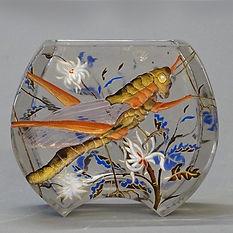 Gallé émile art nouveau rare vase lune sauterelle criquet émail verre verrerie 1890 musée joigny