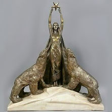 maurice guiraud rivière femmes aux ours bronze sculpture art deco