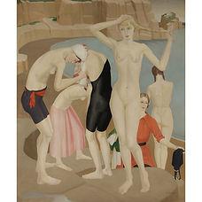 Gladys Hynes painter britain english art deco 1919 chalk carriers hygiénisme