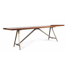 table de salon 1950 fer bronze et bois élégance poillerat