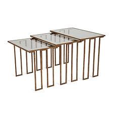 jean royère créneaux tables gigognes 1957 fer patiné vieil or verre record pour le modèle