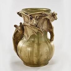 Eduard STELLMACHER vase chauve souris bats art nouveau rare