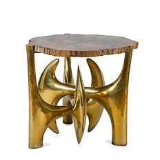 philippe hiquily table 1980 pièce unique laiton bois pétrifié sculpteur henri samuel