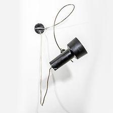 Gino sarfati modèle 208 créé en 1955 applique bras courbe aluminium laqué noir rarissime