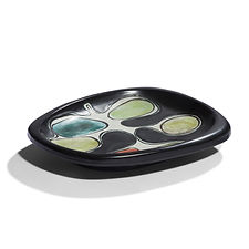 GEORGES JOUVE céramique 1950 plat Joussepichet email noir capron chambost carbonell jolain borderie vallauris thomas fritsch
