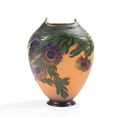 gallé grand vase verre multicouche doigts de sorcière acide art nouveau