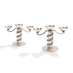 jean després paire de candélabres maillons plats à 3 lumières chandeliers métal argenté