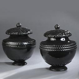 Louis Süe et André Mare, compagnie des arts français, french art deco, 1920, 1925, ceramique, ceramicware, urnes, pots couverts, covered pots, rare, glazed ceramic art deco, french luxury