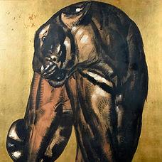 paul jouve shere kan tigre livr dela jungle lithographie réhaussée feuille d'or artiste animalier art déco