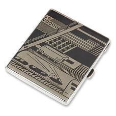 gérard sandoz étui cigarettes 1925 argent niellé modernisme futurisme affiches port
