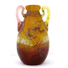 emile galle vase anses collées à chaud papillons art nouveau nancy