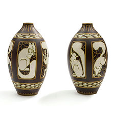 charles catteau keramis la louvieres paire de vases écureuils
