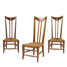 andré arbus rares chaises à haut dossier bois paille collection bessard