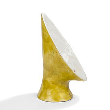 guidette carbonell écoutille feuille de bananier lampe jaune blanc rare 1950