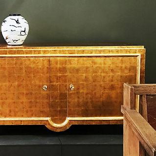 Roger Berthier 1940 france gold leaf lacquer buffet enfilade laque feuille d'or jean dunand arbus néoclassique 1946 décorateur paris 16e casablanca