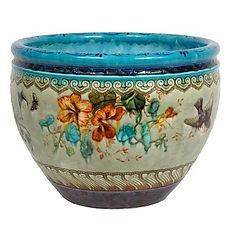 theodore deck cache-pot ceramique fleurs bleu