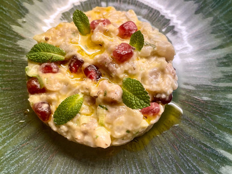 Première recette élaborée autour de l'huile d'olive pressée à la clémentine du Domaine de Segermès.