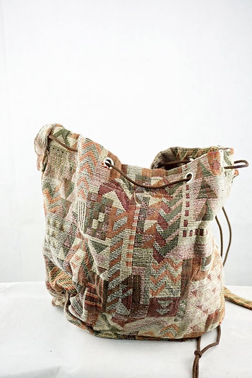 Stofftasche mit Aztekenmuster braun / beige/ grün/ rot