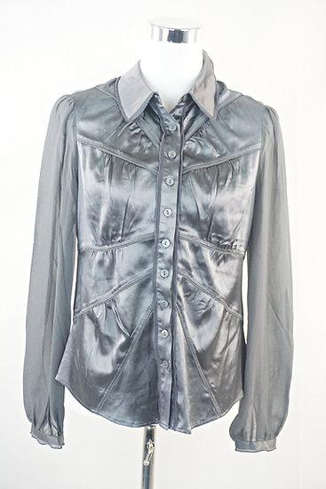 """"""" Disko Fever"""" Silk- Graue glänzende Bluse"""