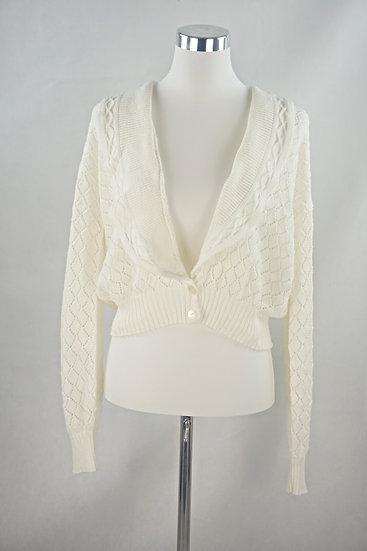 """""""French Girl!""""- Vintage Weiße Strickjacke mit Kragen"""