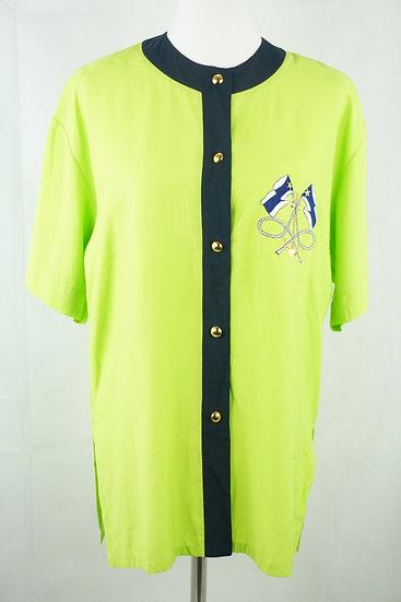 Grüne Ampel Vintage Bluse mit goldenen Knöpfen