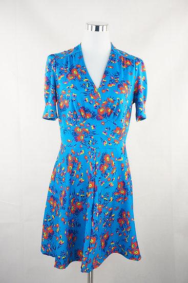 """""""Waldwiese""""-  blaues Kleid mit Blumen"""