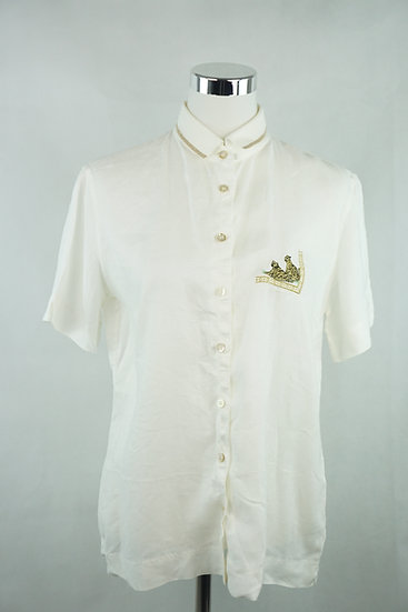 """""""Rodos"""" Weißes bluse mit goldenen Akzenten"""