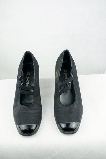 Blockabsatz schwarze Schuhe mit Spangen