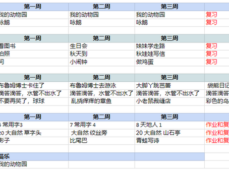 苗苗语文课 2021年10月课程 MMET October Time table