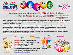 Eight (8) games of Bingo & complimentary appetizers prepared and served by Colonial Room