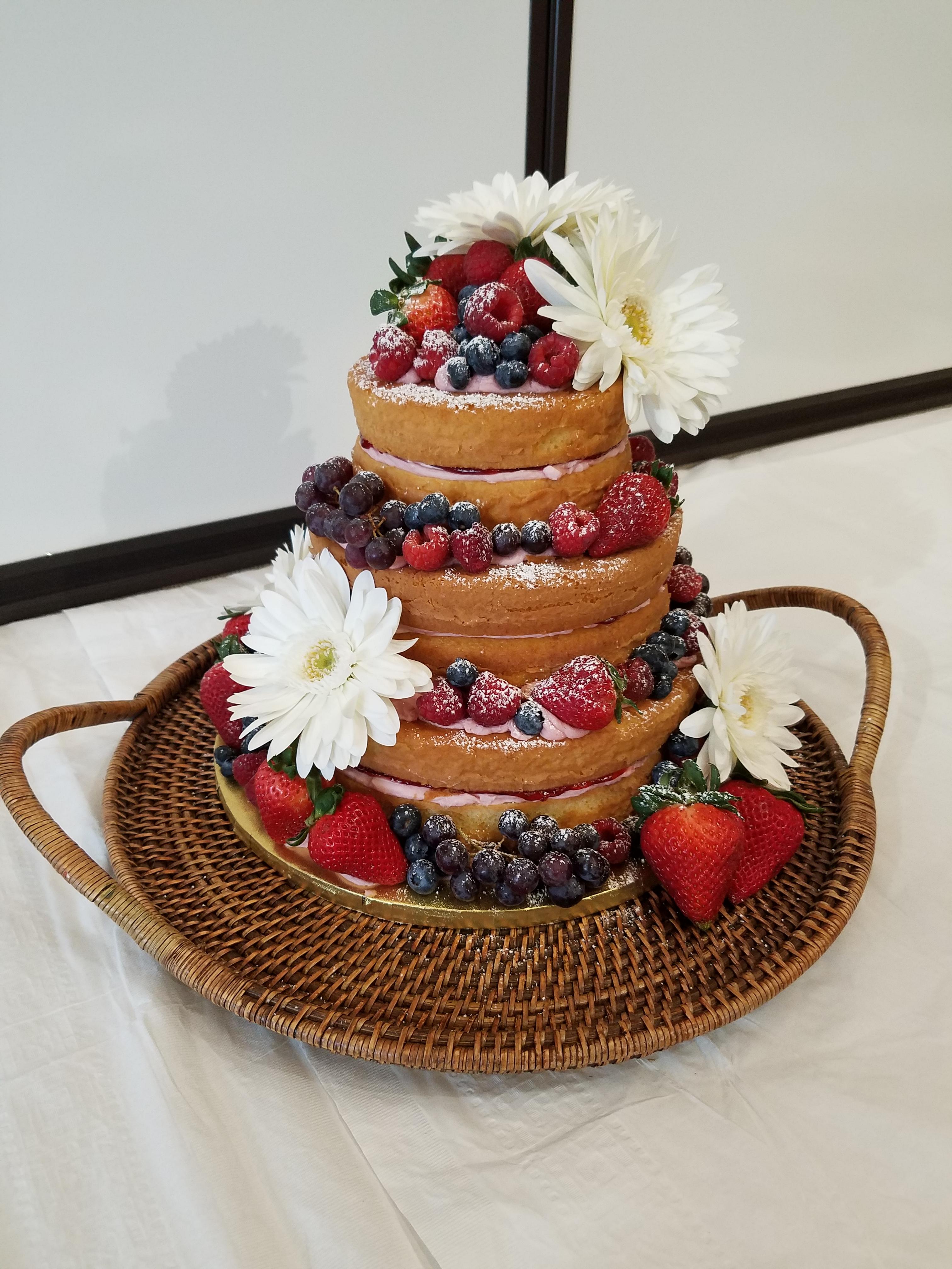Fresh Fruit And Flower Naked Cake