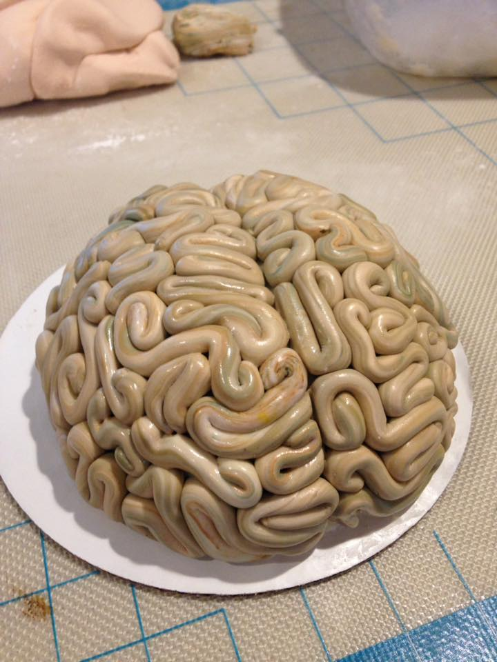 Close up of the brain cake top
