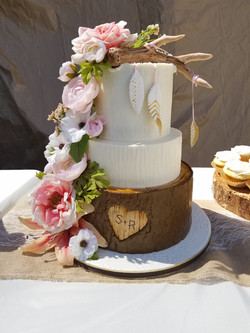 A Floral Boho tiered cake