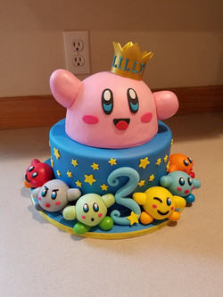 A cute Kirby and friends cake