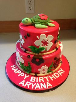 Girls Hawaiian cake with turtle